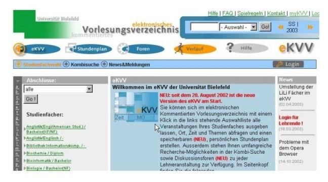 Screenshot des eKVVs aus dem Jahr 2003