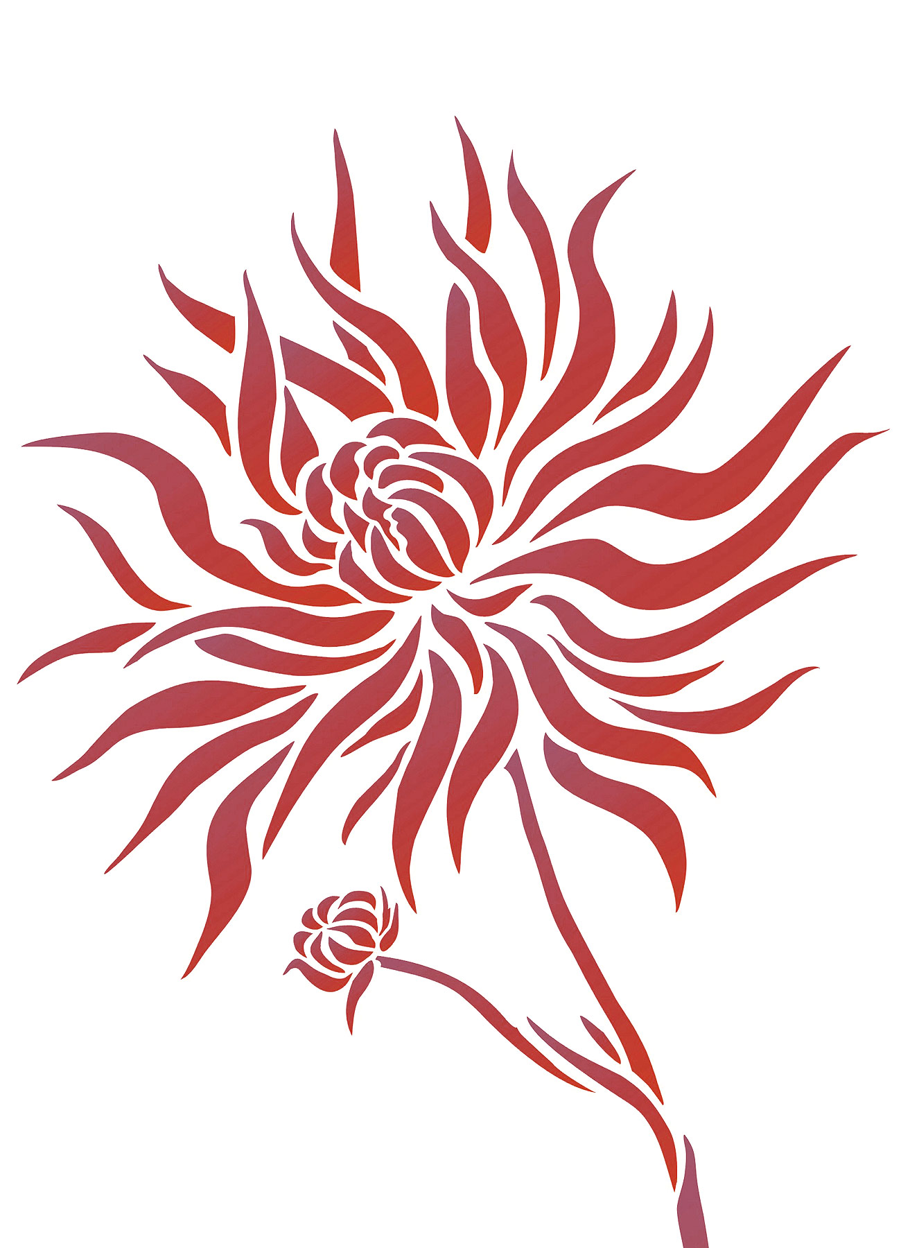 red and grey living room curtains modern wall lights for chrysanthemum flower stencil 2 - henny donovan motif