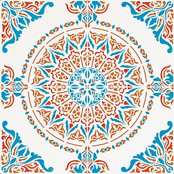 large moroccan ornamental tile design stencil full repeat