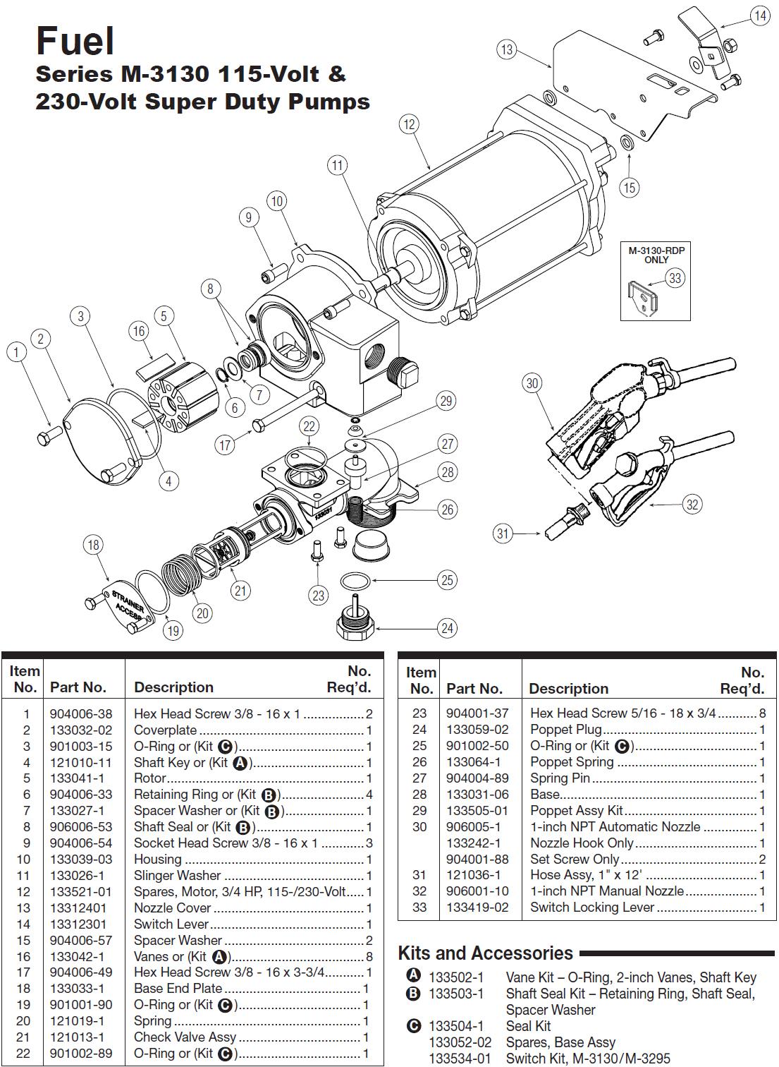 GPI M-3130-PO XTS 115/230V Super Duty Fuel Transfer Pump