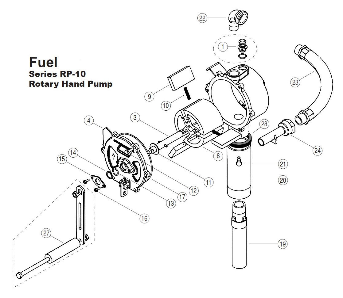 Gpi 1 Crank Assembly Kit For Rp 10 Rotary Hand Pump