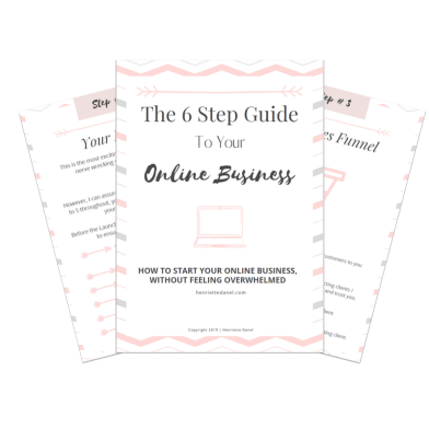 pink and grey 6 step guide to your online business