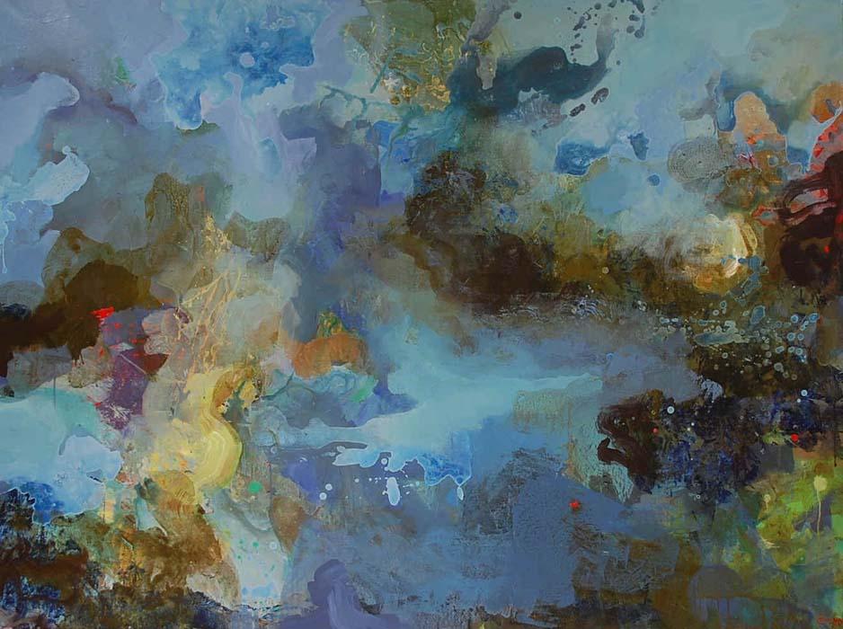 Blå natur 120x160 cm