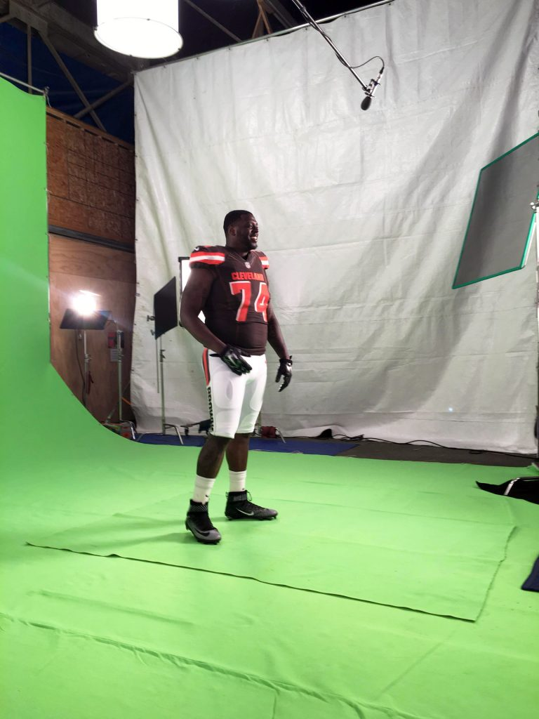 Recording Cleveland Browns on Green Screen with Schoeps Microphone