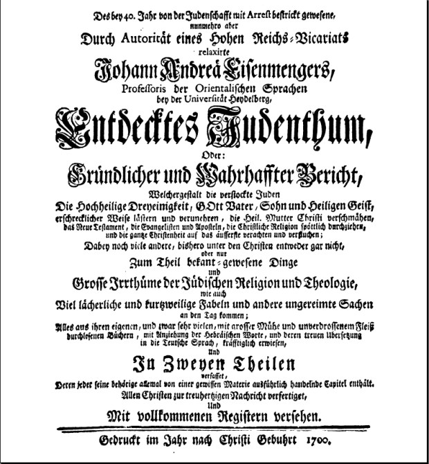 Title Page of Entdeckes Judenthum.