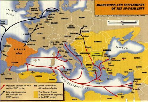 Sephardic Migrations. By Universal Life (http://michel.azaria.free.fr/History.htm) [GFDL (http://www.gnu.org/copyleft/fdl.html) or CC-BY-SA-3.0 (http://creativecommons.org/licenses/by-sa/3.0/)], via Wikimedia Commons