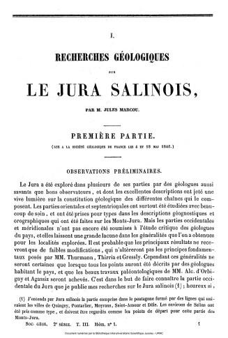 Recherches géologiques sur le Jura salinois, J.Marcou, 1846.