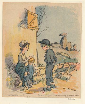 Dessin Francisque Poulbot. [Collection Jaquet], Dessinateurs et humoristes. [Défets d'illustrations de périodiques], 1910-1940. Source : Gallica/BnF.