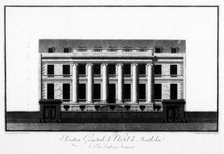 Elévation geométrale de l'hôtel de Montholon, Lequeu, 1786. Estampe, 25,1 x 39,5 cm.