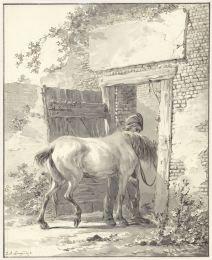 Jan Anthonie Langendijk, Stalknecht een paard de stal binnenleidend = Palefrenier menant un cheval à l'écurie, vers 1790-1818. Dessin, 16,5 x 13,2 cm. Source : Rijksmuseum.