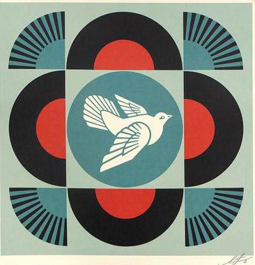 Geometric Dove (on black)