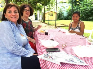 Self-editing course students Tammy, Barbara and Angelica in the lovely courtyard for lunch.