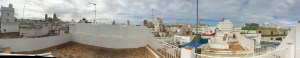 The view over the rooftops of Cádiz from the roof terrace of our apartment.
