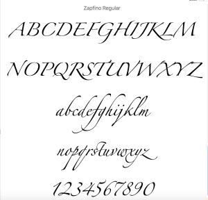 Zapfino fonts