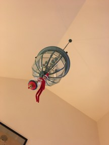 Feeling a fair bit more convinced of Meatball's magic now that he's hanging from the chandelier at Nana and Grumples' house.