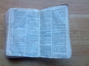 My Dad's Bible, one of many that he used over a lifetime. I'd often see him reading and marking them. He used this one toward the end of his life.