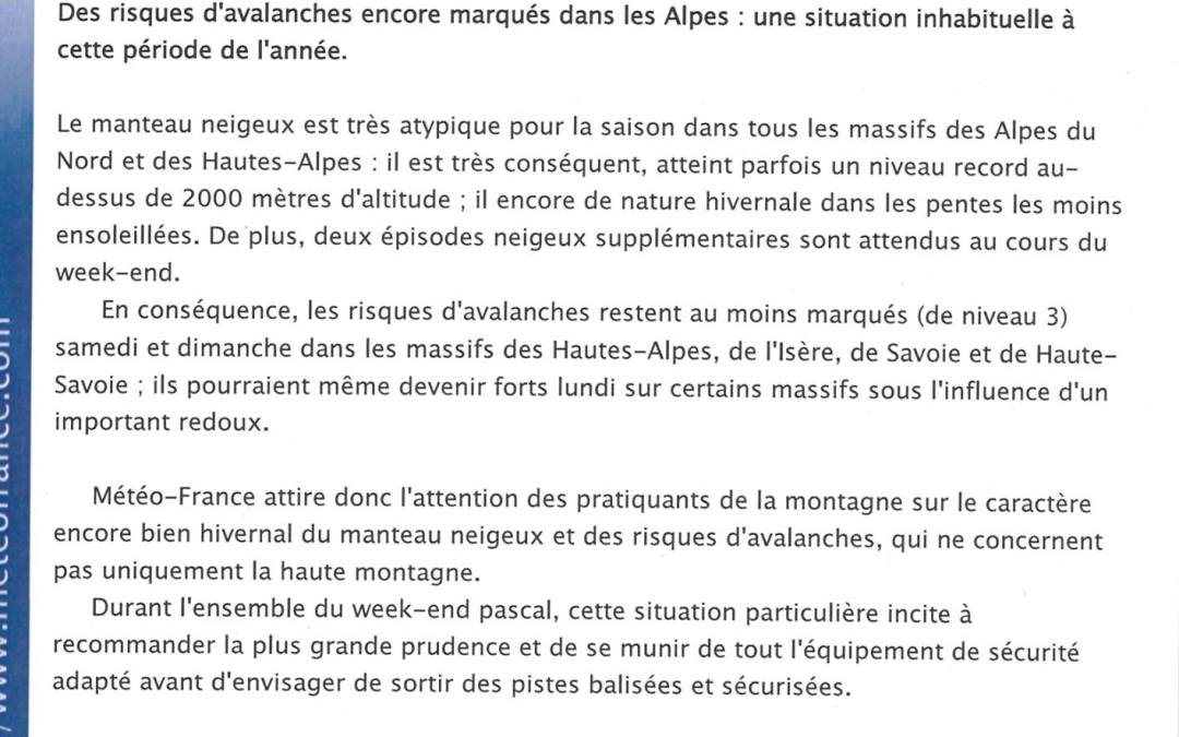 Meteo France Special Bulletin about Avalanche Risk