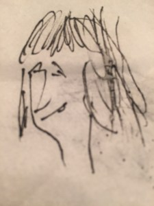 Another girl in a bar- biro on napkin- Steve Bee