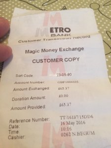 Metro Bank money exchange