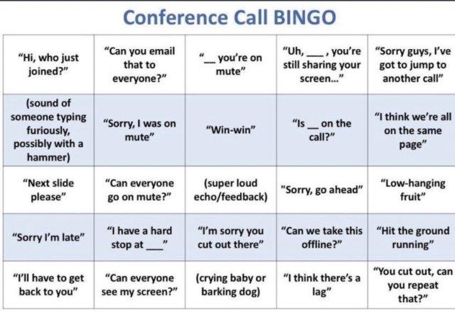 conference call bingo