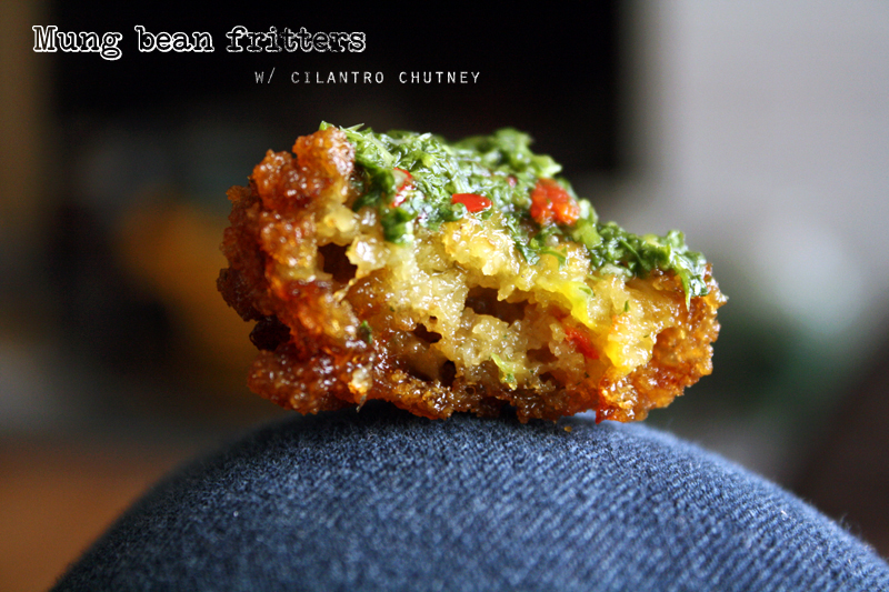 Mung bean fritters with cilantro chutney