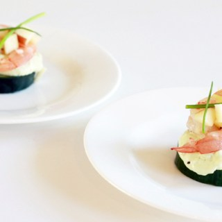 Shrimp on avocado mousse and lightly pickled cucumber with apple salad