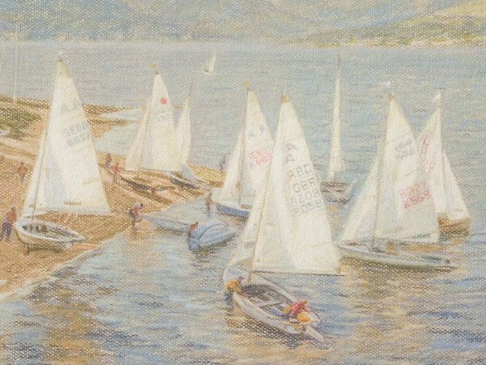 Detail of Albacores about to sail at the Royal West of Scotland Amateur Boat Club.