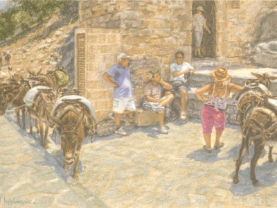 Lindos artwork depicting donkeys and their handlers waiting for tourists on the Greek island of Rhodes