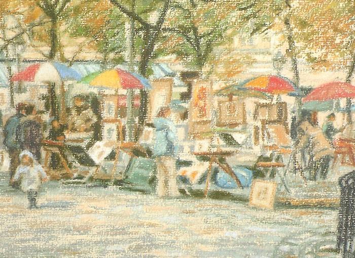Detail of busy art market in Place du Tertre, Paris.
