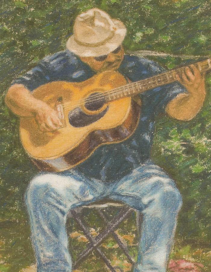 Detail of Michael Hepburn's portrait of a busker at Loch Lomond Shores.