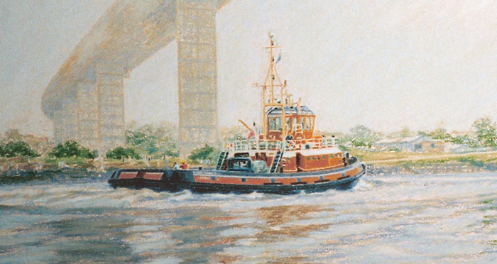 Detail of Flying Spindrift Tug under Erskine Bridge.