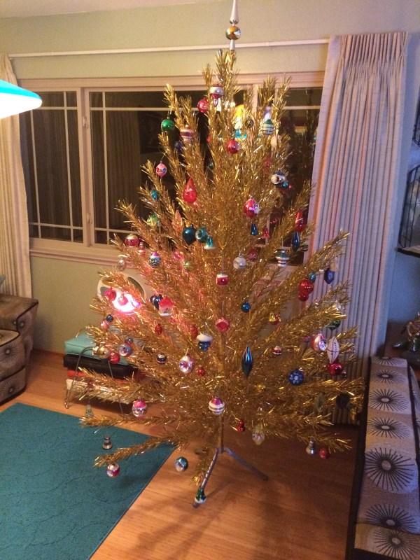 Vintage Evergleam 7ft Gold Aluminum Christmas Tree