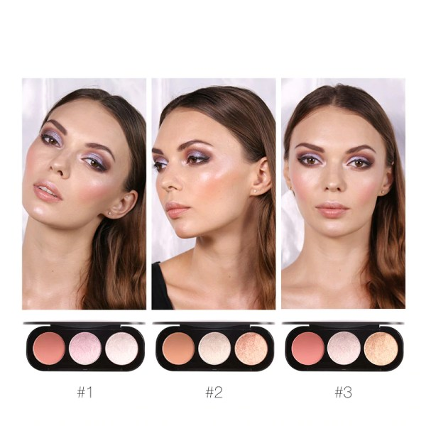 3 Colors Blush&Highlighter Palette