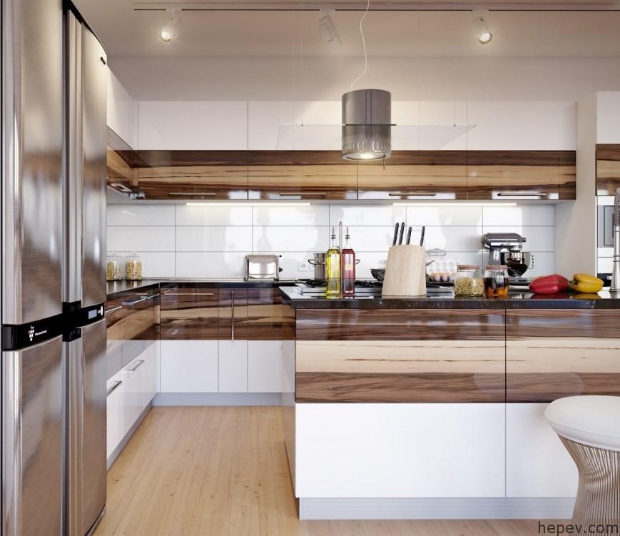 gömme-buzdolabı-yeri-olan-kahve-tonlarında-şık-modern-mutfak-dolapları-modeli