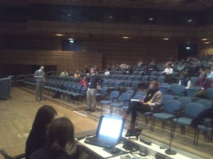 Decision making game probabilistic forecasts, Ensemble forecasting session, EGU 2013: Audience of about 175 people competing against volunteer Micha for the optimal reservoir release schedule.
