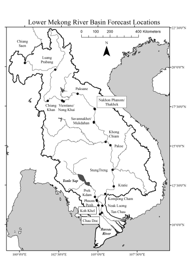 Schematic of lower Mekong River and its forecast points (dots)