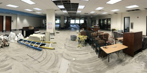 Youth Services gets cleared out for construction.