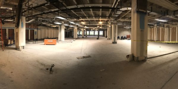 A panorama of the new children's area as the last of the walls are torn down.