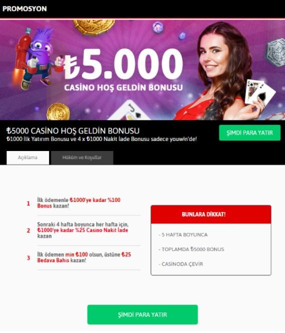 Hepsibahis Casino Hoş Geldin Bonusu