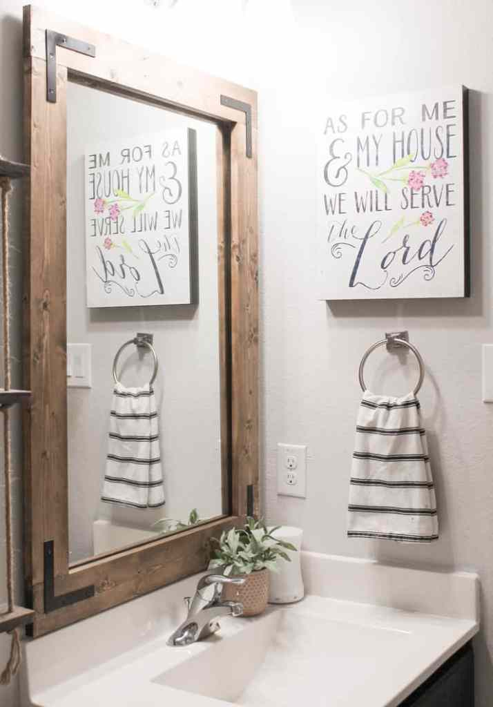 Diy Bathroom Mirror Frame Without Removing Mirror Clips Her Happy Home