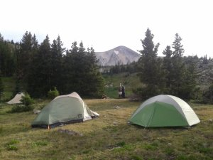 Our campsite with Medicine Bow in the background.