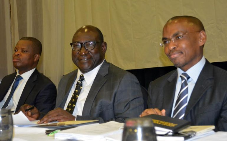 -L-R, Sesan Sobowale, Company Secretary, Guinness Nigeria Plc, Babatunde Savage, Chairman and Peter Ndegwa, MD/CEO during the 65th annual general meeting of Guinness Nigeria Plc in Abuja.on 26th-11-2015.