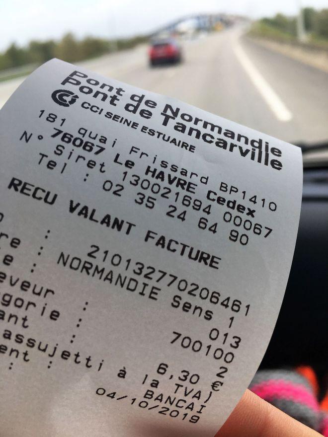 Pont de Normandie Gebühr Ticket