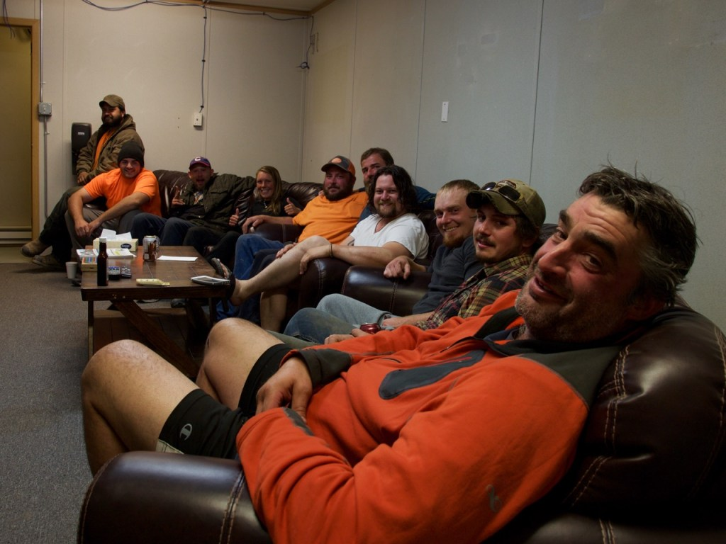 The workers from Tennessee in the chill out room of the camp