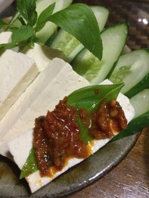 島豆腐で塩豆腐 スライス