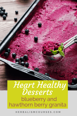 One of the best heart healthy desserts is made from hawthorn berry and blueberry. They are helpful for those with high blood pressure and high cholesterol. It's easy to make and delicious too! #HeartHealthyDesserts #HearthHealthyRecipes #Hawthorn #Blueberry #Herbalism #HerbalMedicine #OnlineHerbalCourse #HerbalismCourses