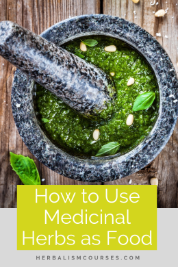 Discover how to use medicinal herbs as food. You may be surprised at how many common foods are used as herbal medicine. Many you may already have on hand in your kitchen. #MedicinalHerbs #MedicinalPlants #FoodAsMedicine #HealingFoods #Herbalism #HerbalMedicine #HerbalismCourses #OnlineHerbalCourse