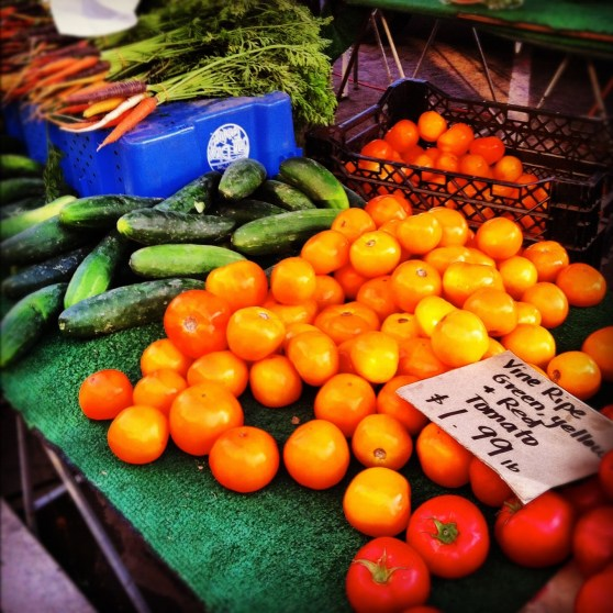 Fresh fruits and vegetables from the Ocean Beach Farmers Market (Wed. evenings)