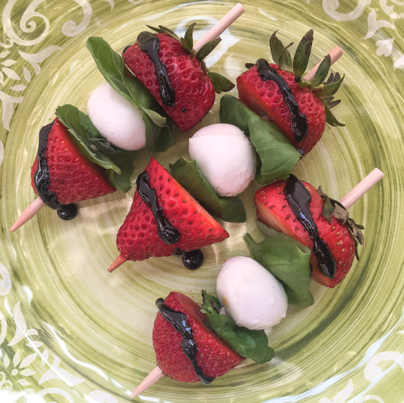 Strawberry Caprese Skewers with a Balsamic Glaze are a delicious twist on the traditional Caprese Salad. The perfect appetizer for your summer get-togethers.