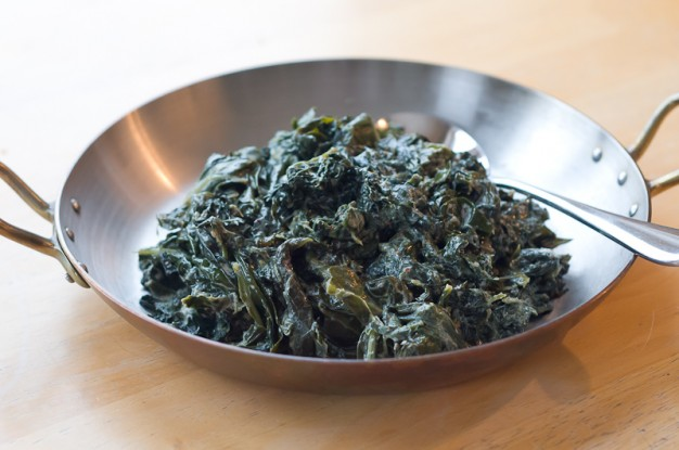 Saag with Collards and Kale (Indian style long-cooked greens)